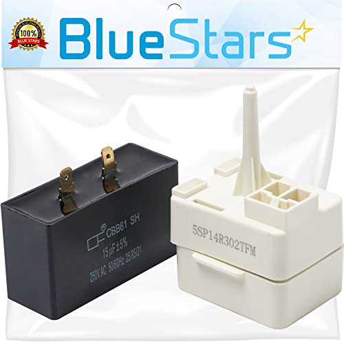 Ultra Durable W10613606 Refrigerator Compressor Start Relay and Capacitor by Blue Stars - Exact Fit for