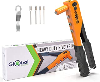 Heavy Duty Rivet Kit - Professional Stainless Steel Pop Gun Set, 120 Assorted rivets, 4 Nose pieces, Manual Riveting Tool Great for Plastic, Metal, Leather, Large & Small Jobs!