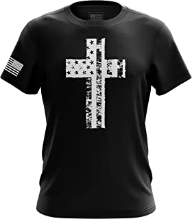 American Freedom Eagle Cross Flag Military Army Mens T-Shirt Made in USA