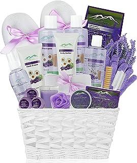 Chamomile & Lavender Spa Gift Baskets - #1 Natural Spa Kit for Women & Men! Beauty Basket Home Spa Basket 20 pc Set Includ...