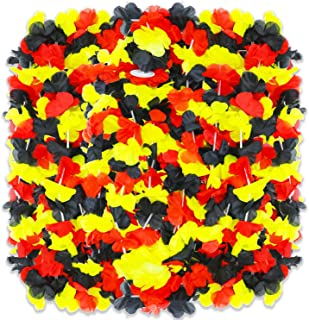 PARTYMASTER Hawaiian Decoration Red Black and Yellow Perfect Combination Luau Flower Leis Tropical Party,Pack of 30