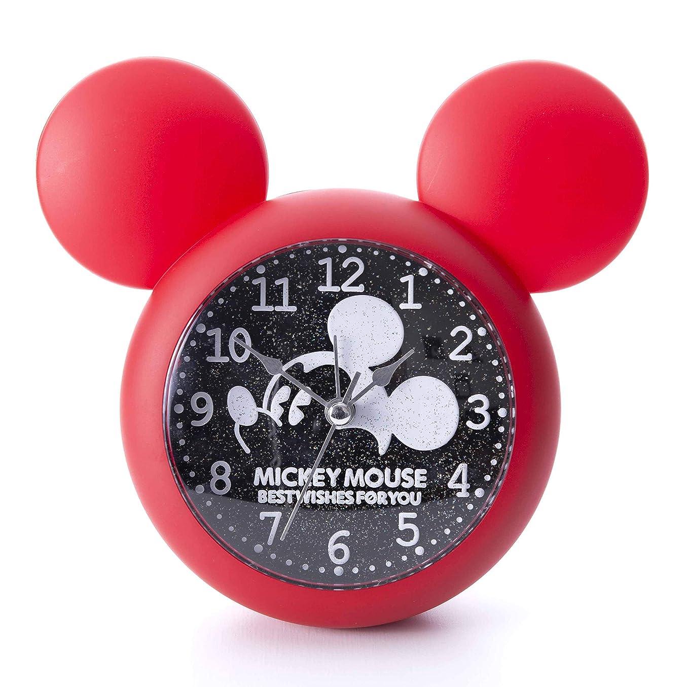チャーター系統的舞い上がるディズニー キャラクター ミッキー マウス 置時計 壁 掛け時計 ウォールクロック アラーム ライト 付き 目覚まし 時計 (レッド)