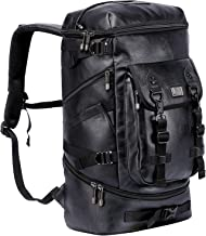 WITZMAN Travel Outdoor Backpack Hiking Rucksack Carry On Laptop Bag Mens Duffel Knapsack (B568 PU Leather Black)