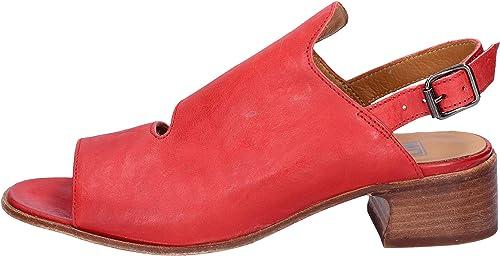 MOMA Sandales Femme Cuir Rouge