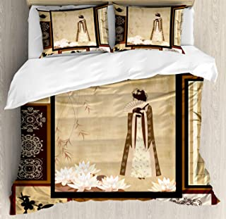 Ambesonne Japanese Duvet Cover Set, Girl in Traditional Dress and Cultural Patterns Ornaments Antique Eastern Collage, Decorative 3 Piece Bedding Set with 2 Pillow Shams, Queen Size, Brown Cream