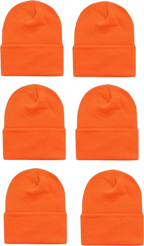OPT Brand. Wholesale 6 PCS Unisex Knit Long Cuff Ski Solid Plain Beanie Cap