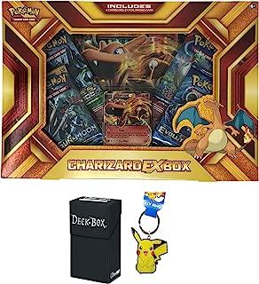 Pokemon Charizard EX Fire Blast Premium Collection Box with Charizard EX Promo Card, Oversized Charizard EX Card, 4 Pokemon Booster Packs Bundle with Pikachu Keychain and Ultra Pro Deck Box - 3 Items