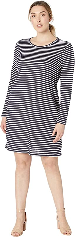 Plus Size Long Sleeve Striped Tee Dress