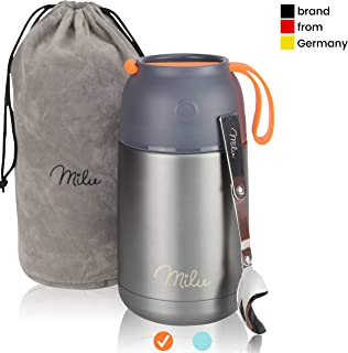 Milu Thermos Food Jar with Folding Spoon 15,2 oz / 22 oz Double Wall Insulated Stainless Steel Food Containers Wide Mouth Lunch Box for Hot & Cold Food for Kids Adults Babys – Gray/Orange 22 oz