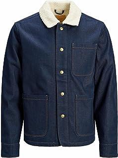 Jack & Jones Men's Regular Fit Denim Jacket Long Sleeved Fur Collared Coat
