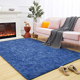 Maxsoft Fuzzy Rugs for Living Room, Navy Blue Shag Area...