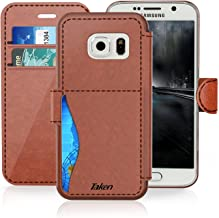 Samsung Galaxy S 7/S7 Leather Wallet Case with Credit Cards Slot and Metal Magnetic, Slim Fit and Heavy Duty, TAKEN Plastic Flip Case/Cover with Rubber Edge, for Women, Men, Boys, Girls (Dark Brown)