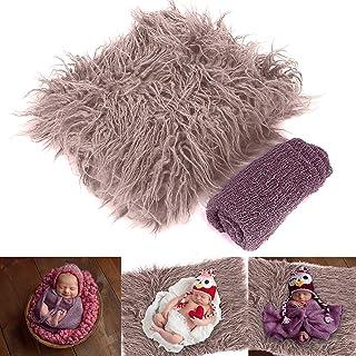 Yuehuam Newborn Baby Photo Props, Fluffy Blanket+ Ripple Wrap Set Toddler Photography Wrap Mat DIY Baby Photoshoot