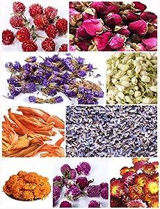 PNANA Dried Flowers- Edible Herbs Bulk of Lavender Buds, Rosebud, Jasmine, Chamomile, for Bath Bomb, Candle, Soap Making kit