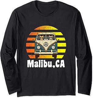 Malibu CA Road Trip T-Shirt Long Sleeve Retro Hippie Van