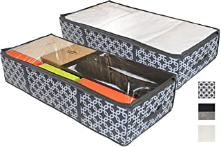 COMPONO 2 Pack Under Bed Storage Containers for Under The Bed Storage with Large Clear Window & Carry Handles. Creates Storage Under Bed Organizer for Any Household Items (Pattern, Underbed Storage)