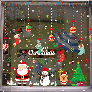 AgeXinjo Static Snowflakes Window Clings Decal DIY Stickers Santa Claus Reindeer Snowman ChristmasDecorations Stickers Party Supplies for ShowcaseWindows Glass Doors-Snowman