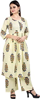 Chandrakala Women's 100% Cotton Indian Ethnic Tunic Top Kurti-Palazzo Set(K137)