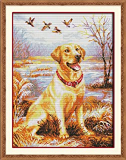 CaptainCrafts Hot New Cross Stitch Kits Needlecrafts Patterns Counted Embroidery Kit - Labrador Retriever Dog (WHITE)