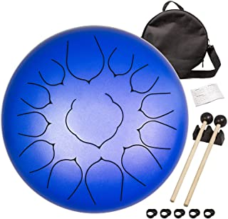 Steel tongue drum 13-note 12-inch tongue drum note percussion steel drum instrument Portable drum set, with school bag, mu...