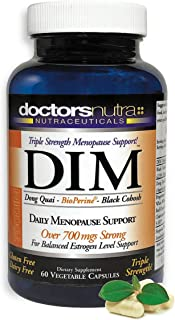 DIM Supplement 200 Milligram Menopause Relief with Dong Quai and Bioperine by Doctors Nutra Nutraceuticals for Estrogen Balance, Hormone Support, Hormonal Acne and Weight Loss Support - no GMO no Soy