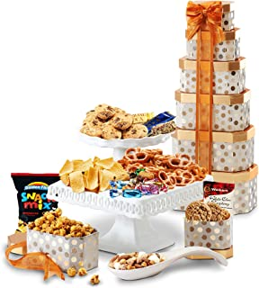 Broadway Basketeers Towering Heights Assorted Chocolate, Cookies and Sweets Gift Tower, Perfect Gift Father's Day, Friend...