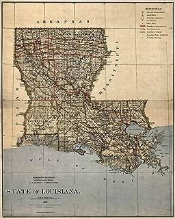 Antiguos Maps MAP of State of Louisiana Circa 1876 - Measures 24