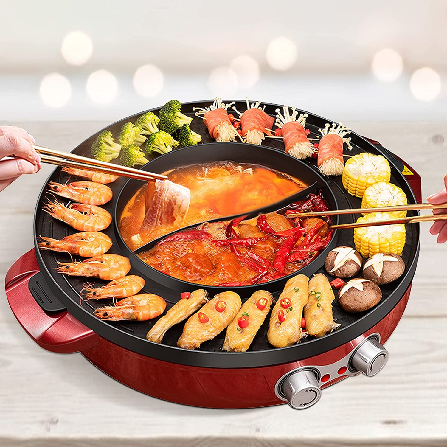 2 in 1 Electric Grill and All items free shipping Pot Removable 2200W Max 57% OFF With Hot
