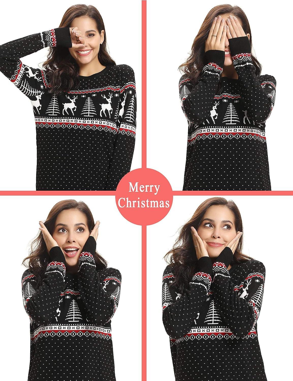 Abollria Damen Lang Strickpulli mit Rentiermuster Weihnachtspullover Rundhals Winterpulli Christmas Sweater für Frauen Mädchen Schwarz