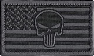2AFTER1 Blackout ACU Punisher Skull USA American Flag Morale Tactical Army Sew Iron on Patch