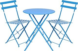 Best Choice Products 3-Piece Portable Folding Metal Bistro Set w/Table and 2 Chairs - Blue