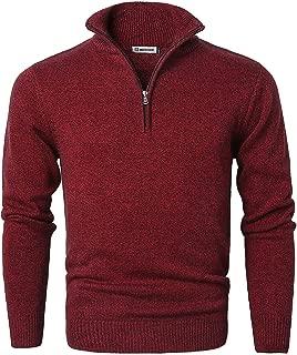 MOCOTONO Men's Long Sleeve Quarter Zip Sweater Knit Turtleneck Pullover
