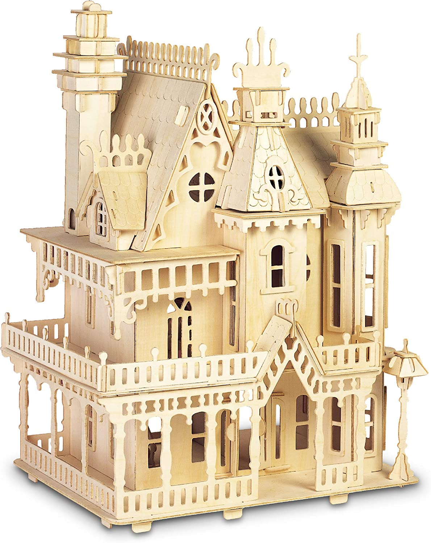 Puzzled Tampa Award Mall 3D Puzzle Fantasy Villa Wood Craft Dollhouse Constru Set