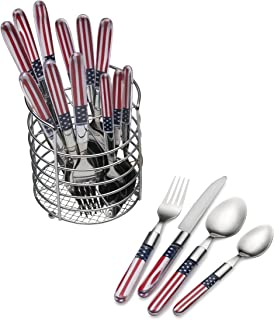 Pfaltzgraff 5154248 Americana 16-Piece Stainless Steel Flatware Set with American Flag Handle Design and Metal Wire Storage Caddy, Service for 4