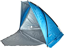 Amazon Basics Pop-up Beach Tent Sun Shade Shelter with Poles and Stakes - 94.5 x 57 x 57 Inches, Blue