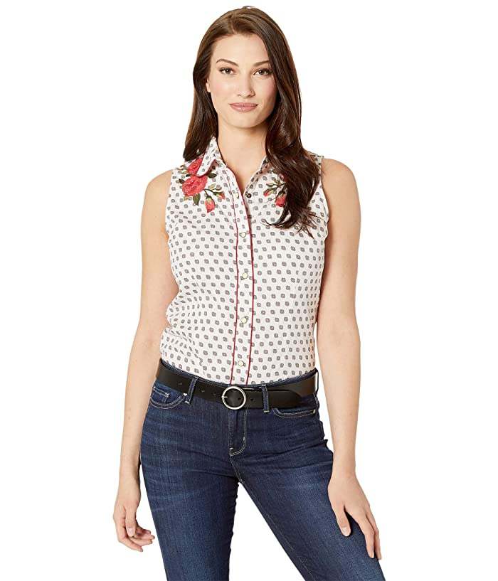 Rock and Roll Cowgirl Sleeveless Snap Shirt B5S1139 (Tan) Women