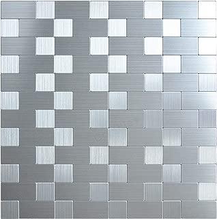 Crystiles Peel and Stick Mosaics Brushed Stainless Linear Aluminum Wall Tile Backsplash Stick On Metal Tiles, 12