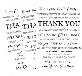 50 Wedding Thank You Place Cards, Rehearsal Dinner Thank You Table Sign, Menu Place Setting Card Notes, Placement Thank You Note Favors For Family & Guests