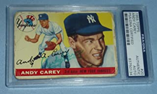 Andy Carey Signed 1955 Topps Yankees Baseball Card #20 COA NY Autograph - PSA/DNA Certified - Baseball Slabbed Autographed Cards