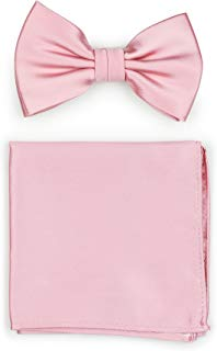 Bows-N-Ties Men's Solid Adjustable Pre-Tied Bow Tie and Pocket Square Set