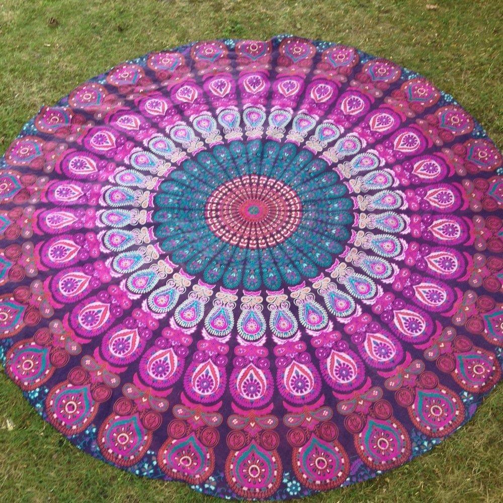 The Art Box - Toalla de Playa Redonda de algodón con diseño de Mandala India, Tapiz Hippie, Toallas Redondas, Toalla de Playa Circular, Esterilla de Picnic y Yoga de 70 Pulgadas Aprox.: