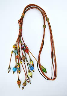 Lunga collana in cuoio a più fili con perline per le donne, regalo per lei