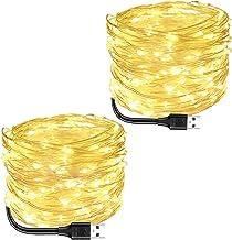 Blingstar Fairy Lights 2 Pack USB Powered String Lights Warm White 33Ft 100 Led Christmas Lights Fairy String Lights for P...