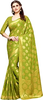 MIMOSA Women's Kanchipuram Crepe Saree With Unstitched Blouse Piece (4165-2136-SD-OLIVE_Olive Green)