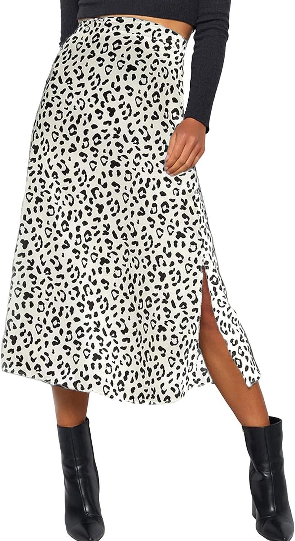 Lentta Women's Casual Loose High Waist Side Split Pleated Long Leopard Print Skirt