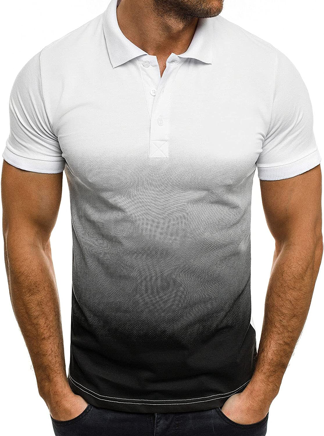 Men's Polo Shirts Casual Short Sleeve T-Shirts 3D Gradient Slim Fit T-Shirt Bodybuilding Muscle Fitness Tee Tops