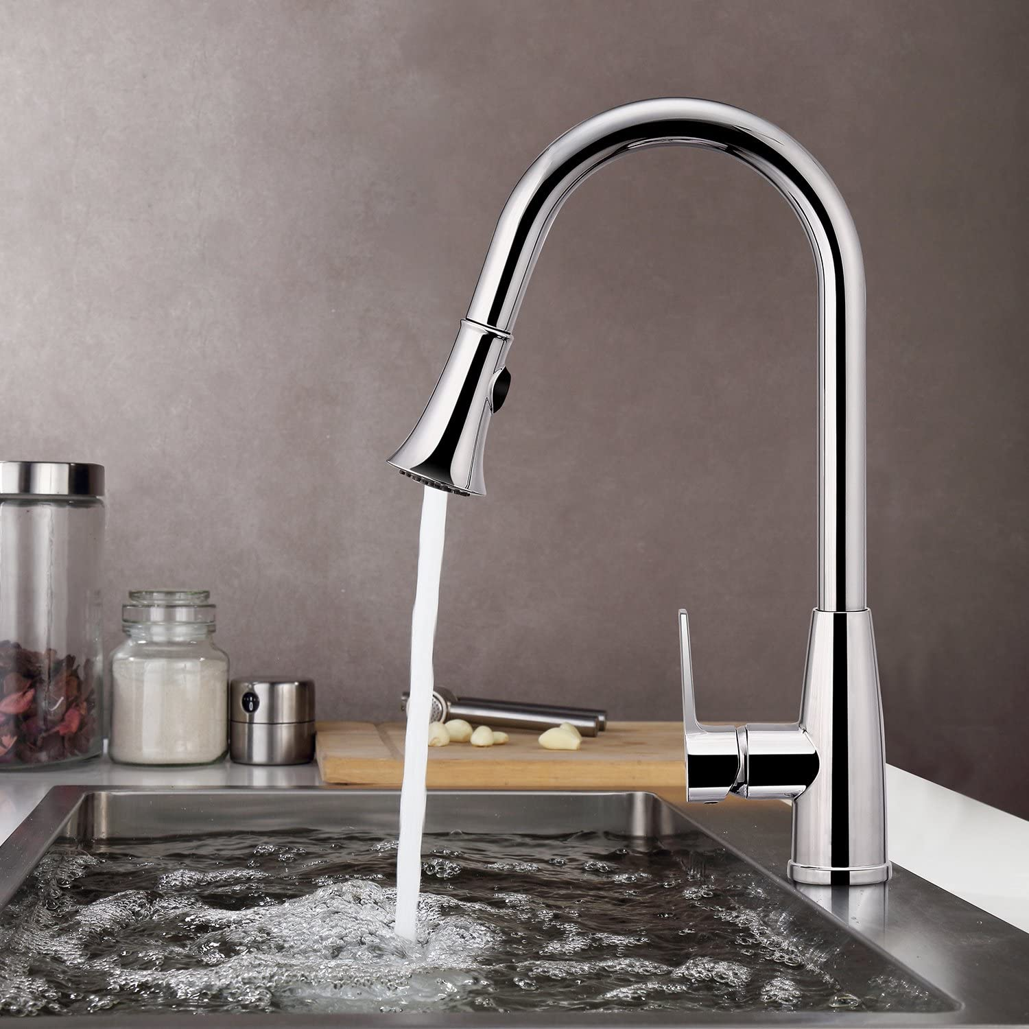 Bathwa Single Lever Kitchen Sink Mixer Tap, Washbasin Tap with pull-out spout, silver