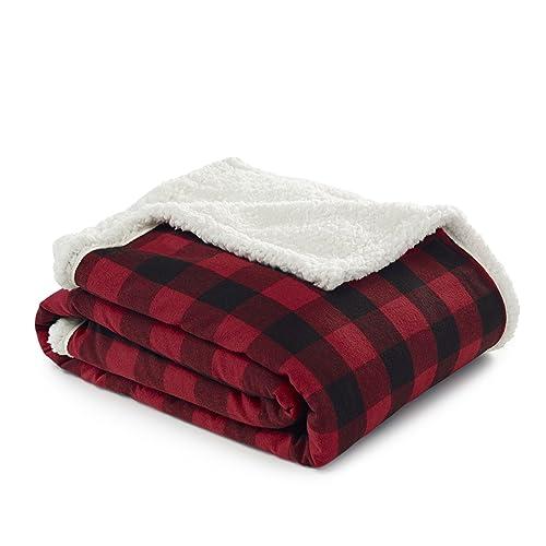 Eddie Bauer 216689 Cabin Plaid Flannel Sherpa Throw, Red