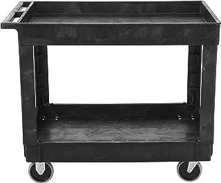 "Rubbermaid Commercial Utility Cart, Lipped Shelves, Medium, Black, 4"" Non-Marking Swivel Casters, 300 lb Capacity (FG9T6700BLA)"