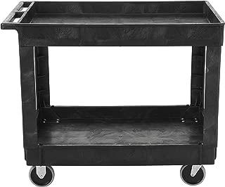 Rubbermaid Commercial Utility Cart, Lipped Shelves, Medium, Black, 4